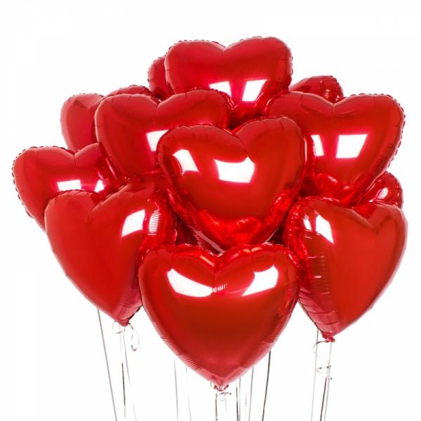 599. Шарики сердечки красные фольгированные