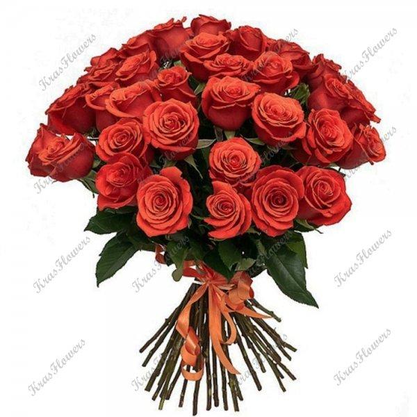 Букет из алых роз сорт Nina
