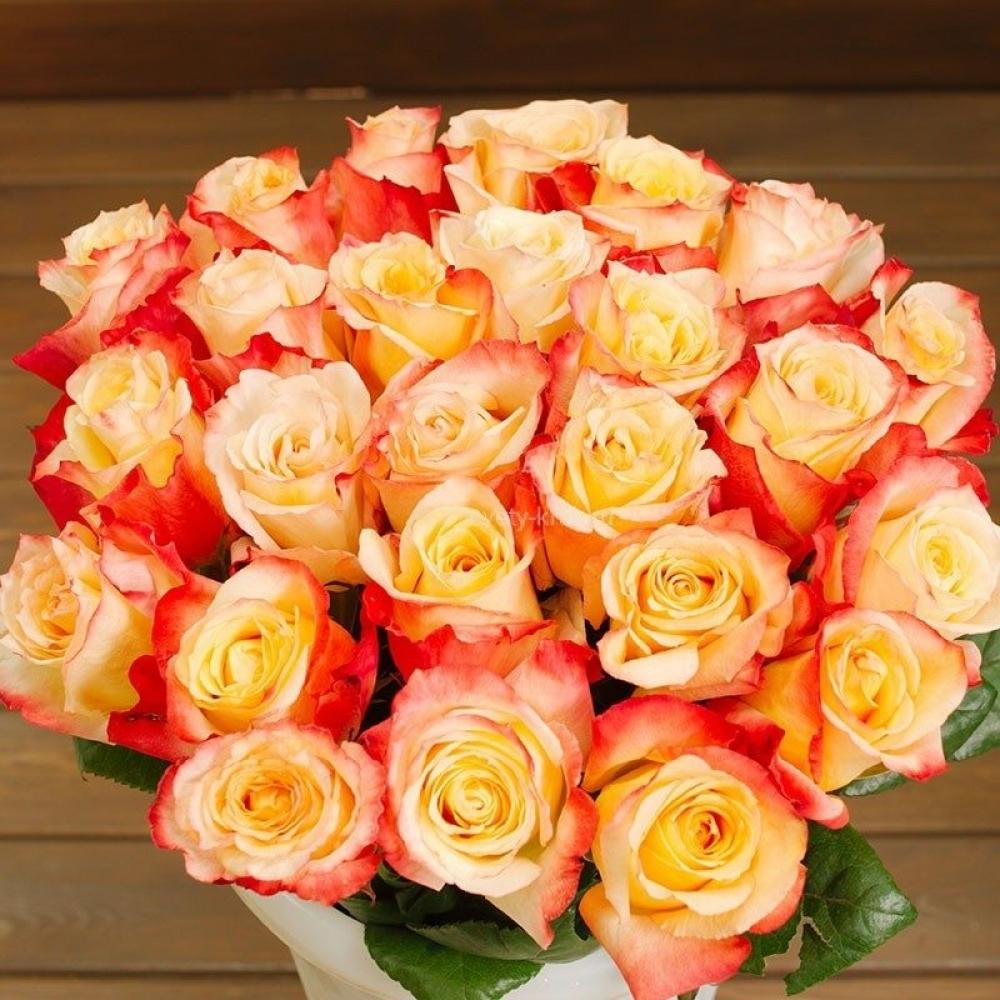 Букет 29 роз сорта Кабарет